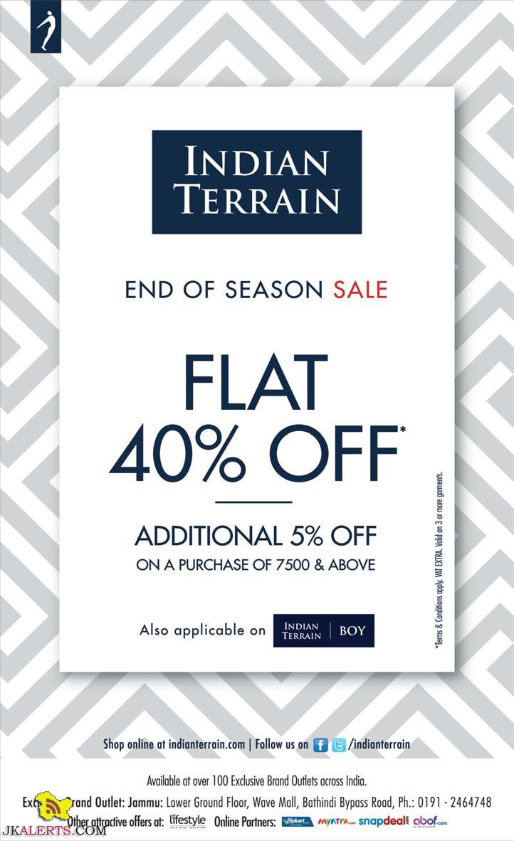 Flat 40% off on Indian Terrain sale