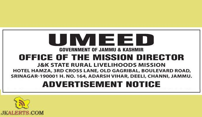 JOBS IN J&K STATE RURAL LIVELIHOODS MISSION (UMEED)