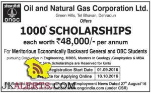 SCHOLARSHIPS for Meritorious Economically Backward General and OBC Students