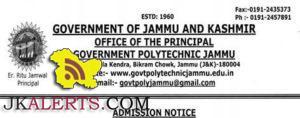 Composite Electrician, Computer Operator admission open in Govt. Polytechnic Bikram Chowk, Jammu