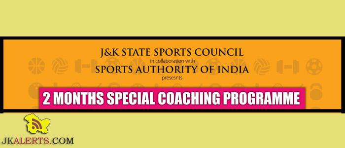 J&K STATE SPORTS COUNCIL Special Coaching Programme