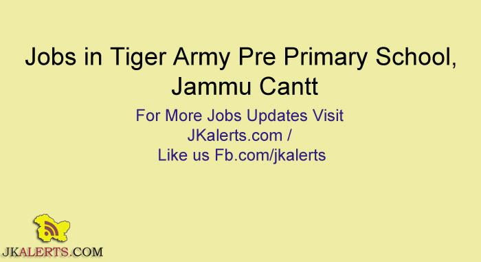 Teacher/Asst. Teacher Jobs in Tiger Army Pre Primary School, Jammu Cantt