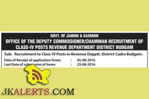 Recruitment to Class-IV Posts in Revenue Depptt. District Cadre Budgam