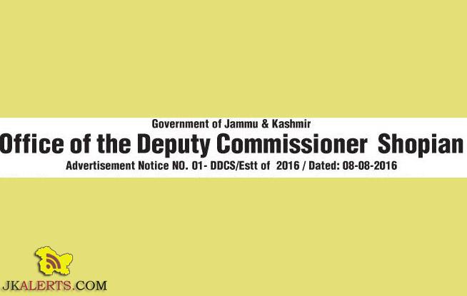 Class IVth Jobs in Office of the Deputy Commissioner Shopian