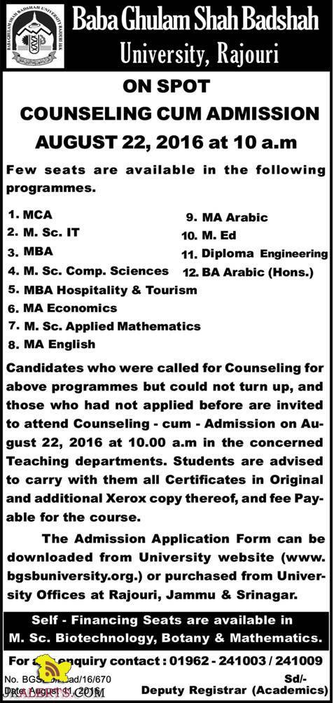 Baba Ghulam Shah Badshah University, Rajouri onspot counselling cum Admission