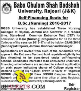 Admission open in B.Sc.(Nursing) 2016-2017 BGSBU