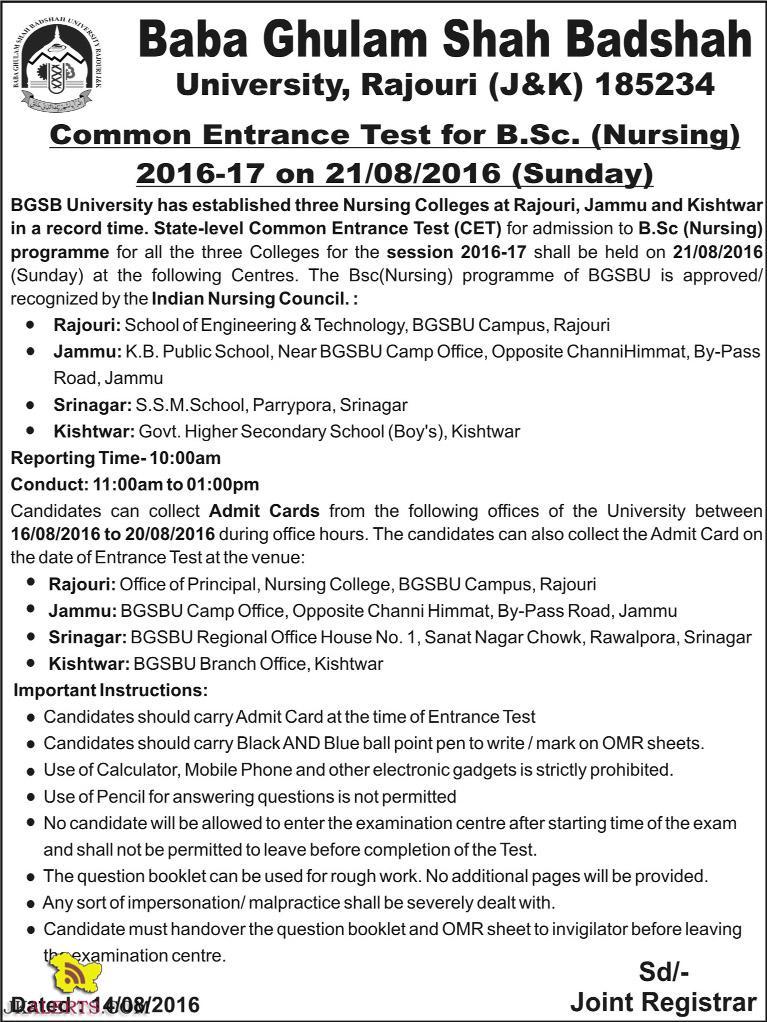 Baba Ghulam Shah Badshah University, Rajouri (J&K) CET Test B.Sc. (Nursing) 2016-17