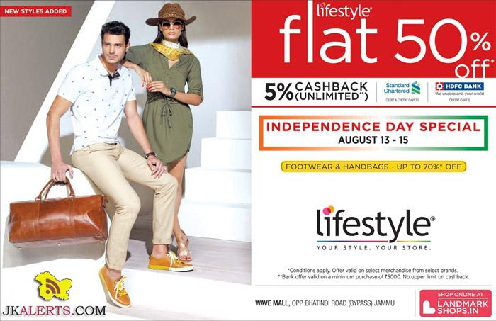 Independence day special sale at Lifestyle Wave Mall Flat 50% off