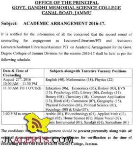 GGM Science College Jammu Academic Arrangement 2016-17 Counselling