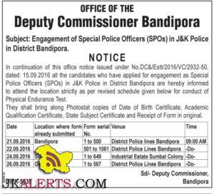 ngagement of Special Police Officers (SPOs) in J&K Police in District Bandipora.