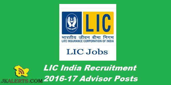 WALK-IN-INTERVIEW LIC INDIA INSURANCE ADVISORS