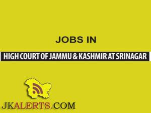Research Assistants Jobs in High Court of J&K Srinagar