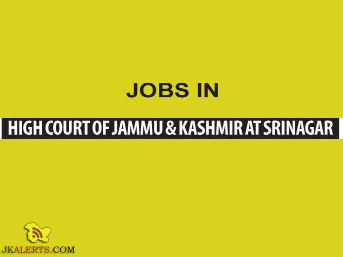 Research Assistants Jobs in High Court of J&K Srinagar