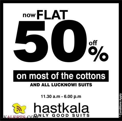 Hastkala Flat 50% off on cotton and Lucknowi suits
