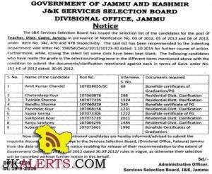 JKSSB selection list of the candidates for the post of Teacher. Distt. Cadre. Jammu