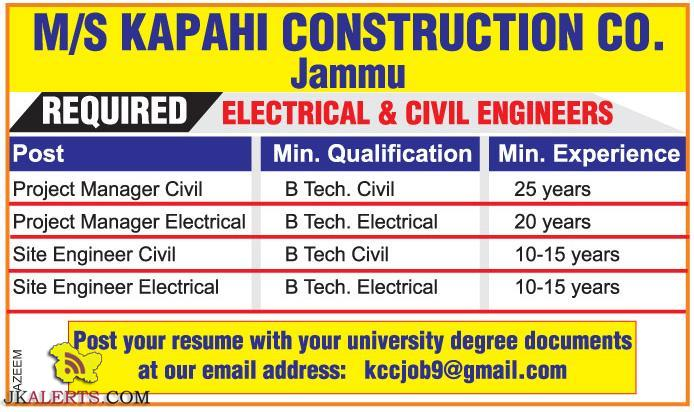 Electrical and Civil Engineers Jobs Jammu