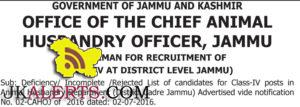 Deficiency/ Incomplete /Rejected List for Class-IV posts in Animal Husbandry Department