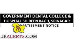 Govt Dental College & Hospital, Srinagar Jobs