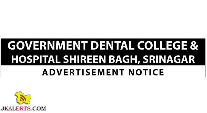 Govt Dental College & Hospital, Srinagar Jobs