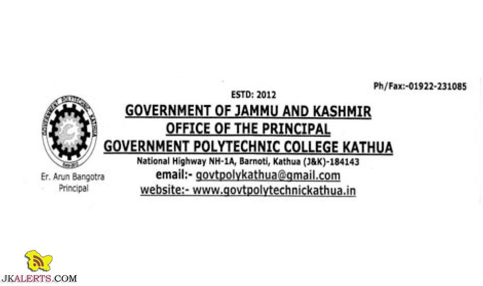 Instructor (Refrigeration & Air- Conditioning) Jobs in Government Polytechnic College Kathua