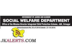 SOCIAL WELFARE DEPARTMENT J&K JOBS
