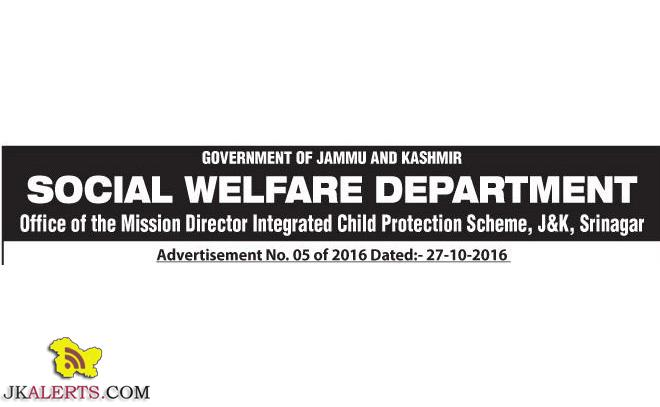 SOCIAL WELFARE DEPARTMENT J&K JOBS