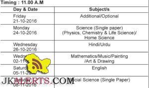 Jkbose Date sheet Class10th Annual Jammu Province winter zone Regular Candidates