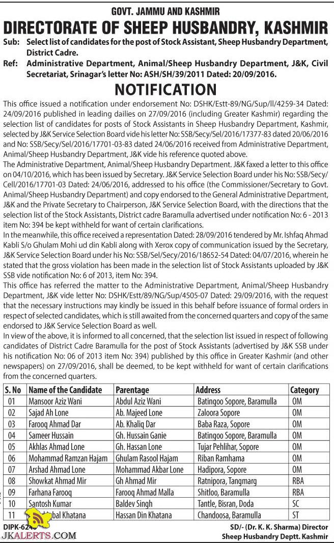 Select list of Stock Assistant, Sheep Husbandry Department, District Cadre.