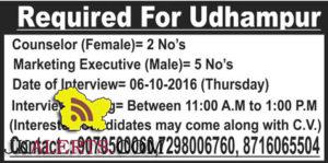 Counselor, Marketing Executive Jobs in Udhampur