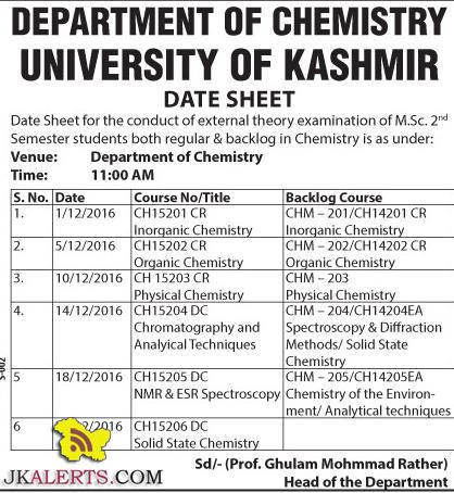 NIVERSITY OF KASHMIR DATE SHEET FOR MA IN POLITICAL SCIENCE