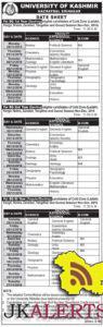 University of Kashmir Date sheet BG I, II, II year Session Nov Dec 2016
