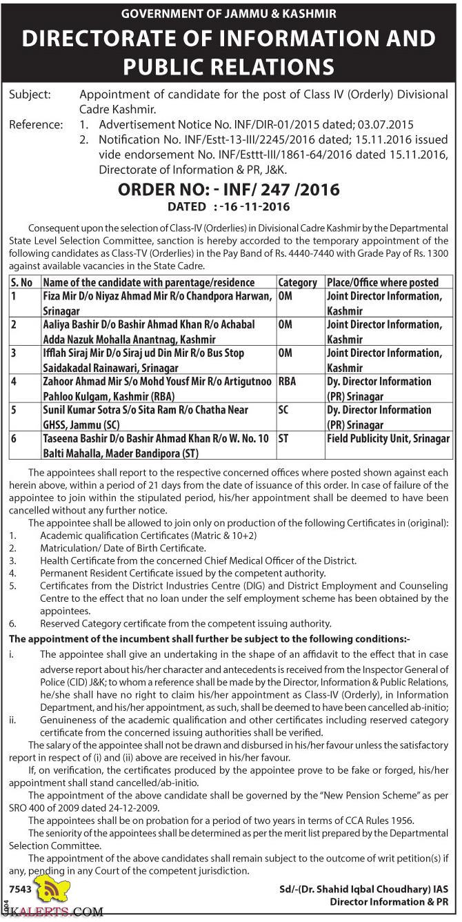 Appointment of candidate for the post of Class IV (Orderly) Divisional Cadre Kashmir.