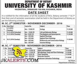 UNIVERSITY OF KASHMIR Date Sheet M.Sc. Botany semester 1st & 2nd