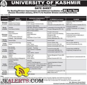 UNIVERSITY OF KASHMIR DATE SHEET BG 1st Year 2016-17 Kashmir Division