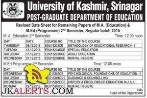 Revised Date Sheet for Remaining Papers of M.A. (Education) & M.Ed Kashmir University