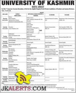 UNIVERSITY OF KASHMIR DATE SHEET BG 2nd Semester (Dec 2016) Regular/Fresh Private Candidates