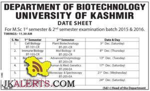 UNIVERSITY OF KASHMIR DATE SHEET M.Sc BIOTECHNOLOGY