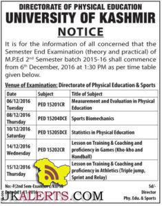 UNIVERSITY OF KASHMIR Date Sheet M.P.Ed 2015-16