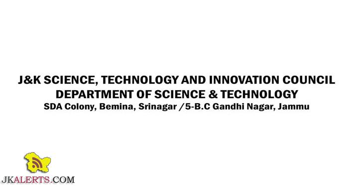 J&K SCIENCE, TECHNOLOGY AND INNOVATION COUNCIL DEPARTMENT OF SCIENCE & TECHNOLOGY JOBS