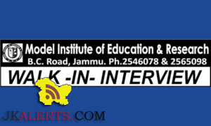 Model Institute of Education & Research MIER Jammu Jobs