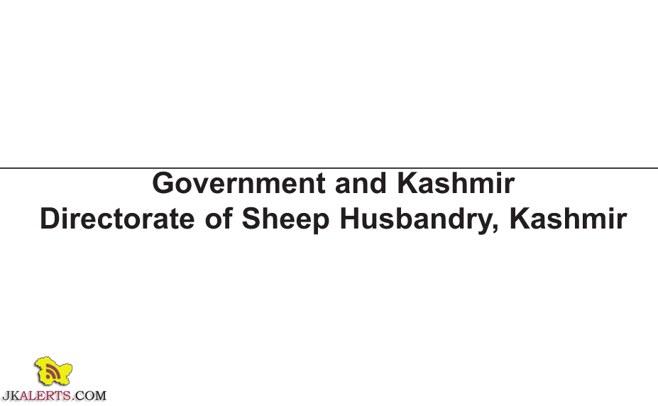 Select list of candidates for the post of Stock Assistant, Sheep Husbandry Kashmir
