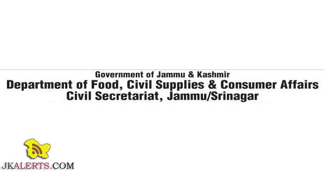 Jobs in J&K ,Department of Food Civil Supplies and Consumer Affairs