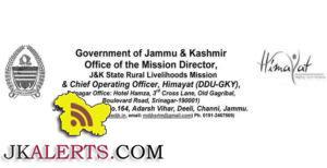 J&K State Himayat Mission Management Jobs, JKSRLM JOBS J&K