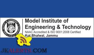 Model Institute of Engineering & Technology Kot Bhalwal Jammu Jobs