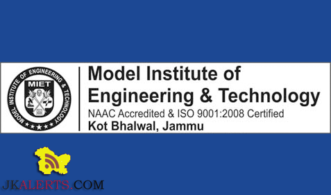 Model Institute of Engineering & Technology Kot Bhalwal Jammu Jobs