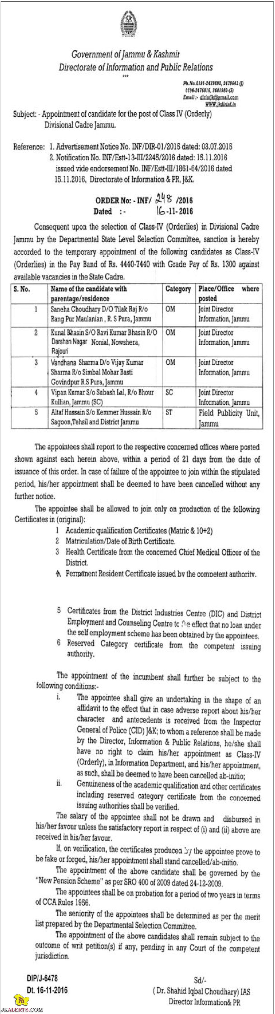 Appointment of candidate for the post of Class IV (Orderly) Divisional Cadre Jammu