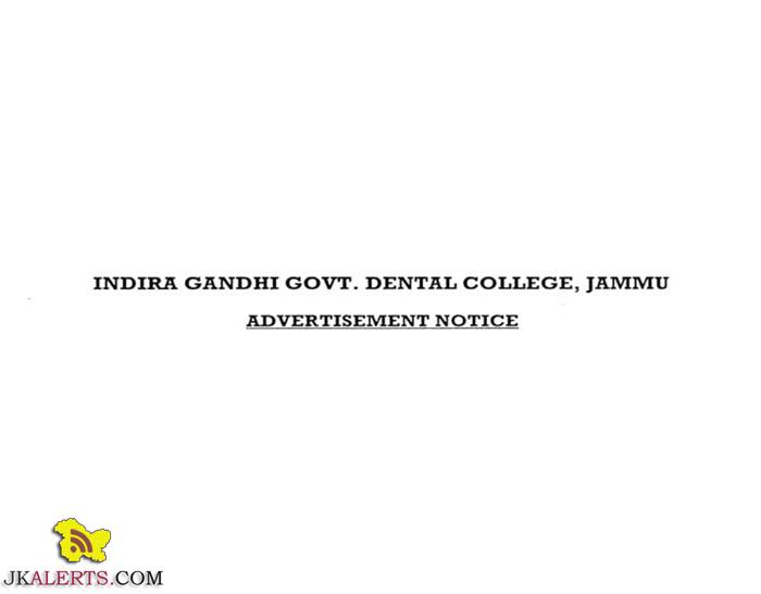 INDIRA GANDHI GOVT. DENTAL COLLEGE, JAMMU JOBS