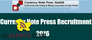 Indian Currency Note Press Recruitment 2016 2017