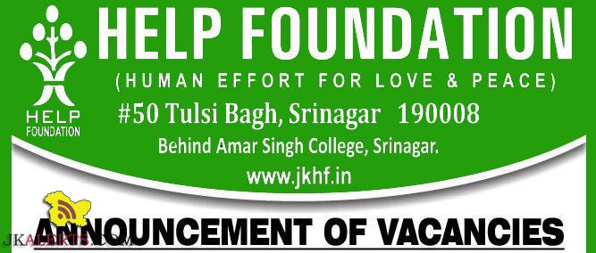 JOBS IN HELP FOUNDATION SRINAGAR