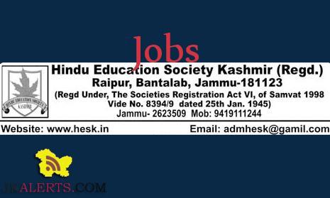 Hindu Education Society Kashmir Jammu HESK Jobs